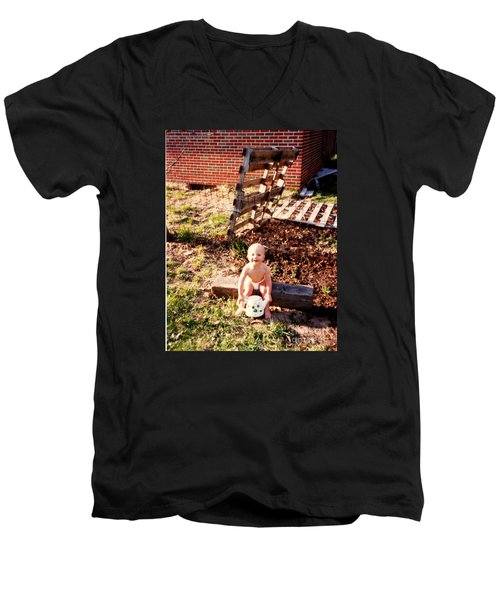 Men's V-Neck T-Shirt featuring the photograph My Lil Gardener by Kelly Awad