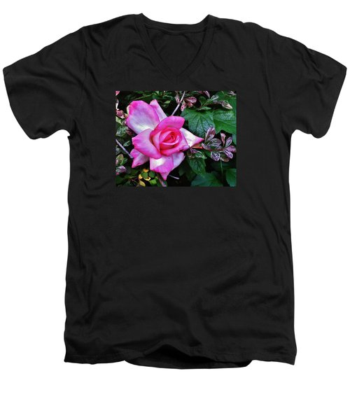 Men's V-Neck T-Shirt featuring the photograph My Perfect Tea Rose by VLee Watson