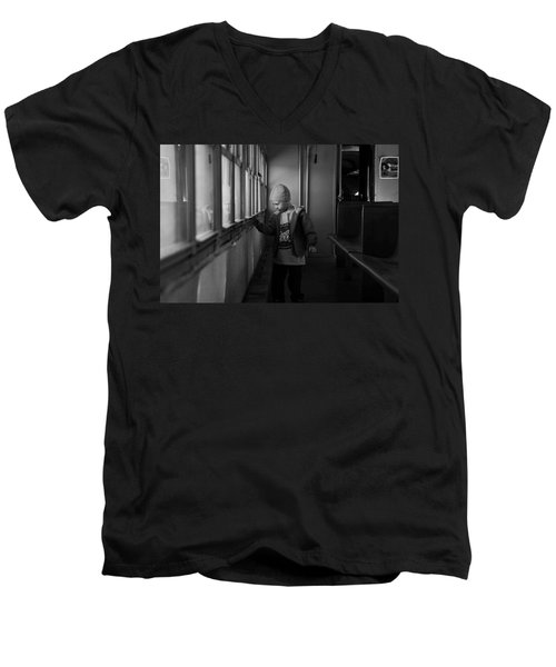 Men's V-Neck T-Shirt featuring the photograph My Shadow by Jeremy Rhoades