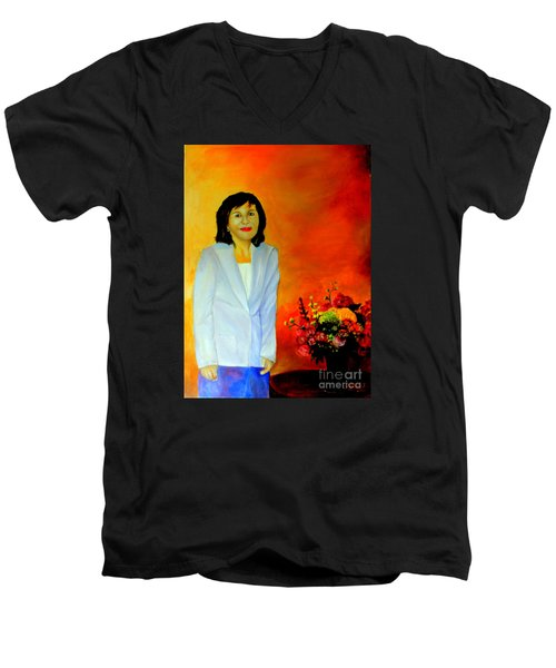 Men's V-Neck T-Shirt featuring the painting My Wife by Jason Sentuf