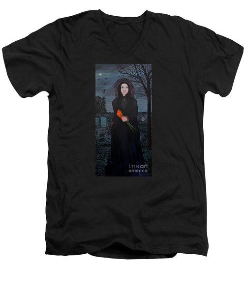 Mystery Men's V-Neck T-Shirt by Myrna Walsh