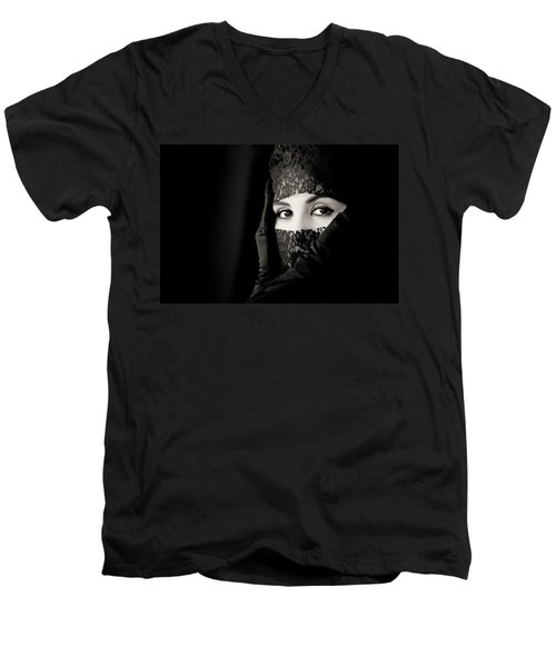 Mystery That Is Woman Men's V-Neck T-Shirt by Hugh Smith