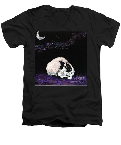 Men's V-Neck T-Shirt featuring the painting Mystic Cat Nap  by Reina Resto