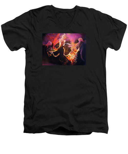 Men's V-Neck T-Shirt featuring the painting Mystic Circle by Georg Douglas