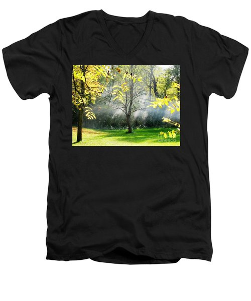 Men's V-Neck T-Shirt featuring the photograph Mystical Parkland by Nina Silver