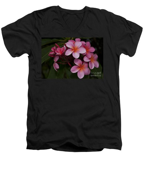Na Lei Pua Melia O Wailua - Pink Tropical Plumeria Hawaii Men's V-Neck T-Shirt