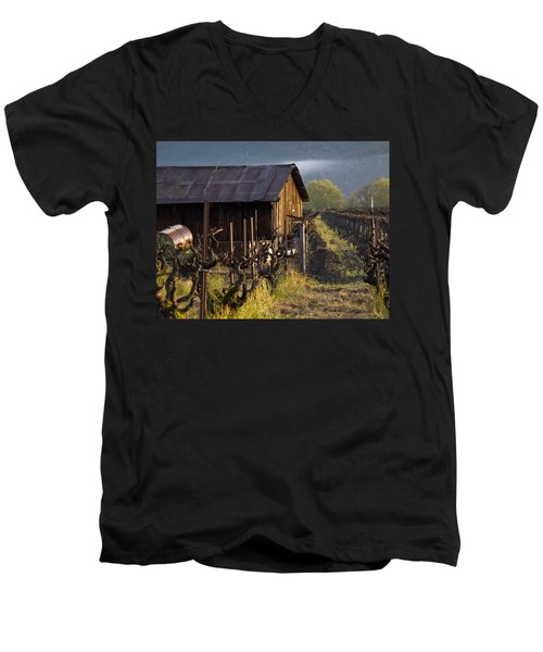 Napa Morning Men's V-Neck T-Shirt by Bill Gallagher