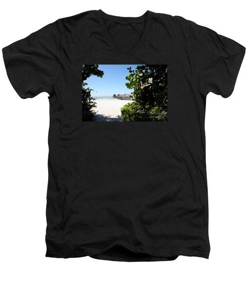 Naples Pier View Men's V-Neck T-Shirt by Christiane Schulze Art And Photography