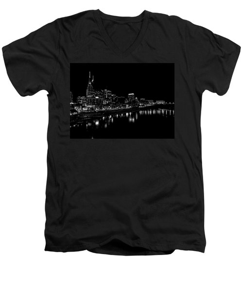 Nashville Skyline At Night In Black And White Men's V-Neck T-Shirt by Dan Sproul