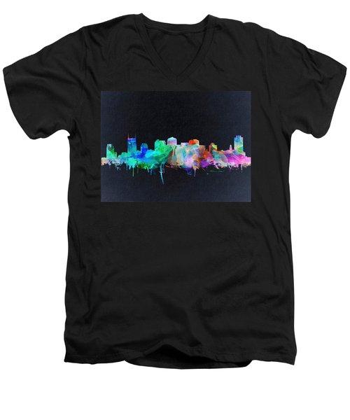 Nashville Skyline Watercolor 10 Men's V-Neck T-Shirt