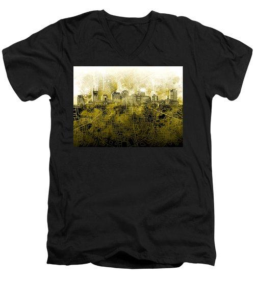 Nashville Skyline Watercolor 4 Men's V-Neck T-Shirt