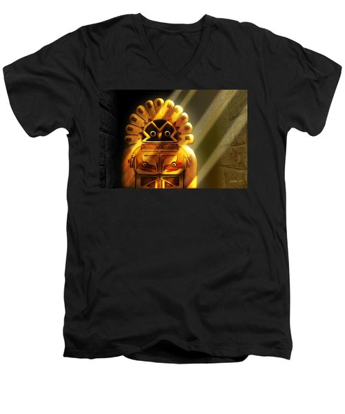 Native American Hawk Spirit Gold Idol Men's V-Neck T-Shirt
