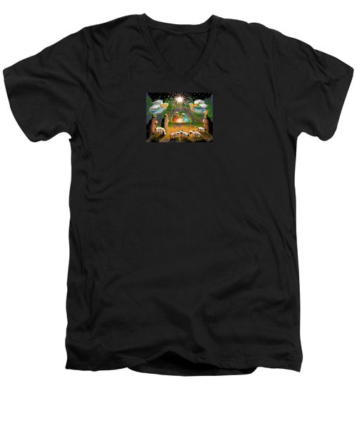 Men's V-Neck T-Shirt featuring the painting Nativity by Jean Pacheco Ravinski