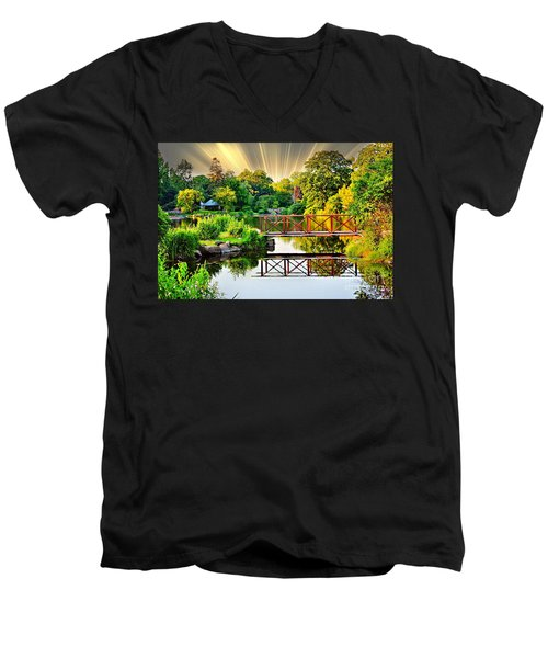 Men's V-Neck T-Shirt featuring the photograph Nature's Reflections by Judy Palkimas