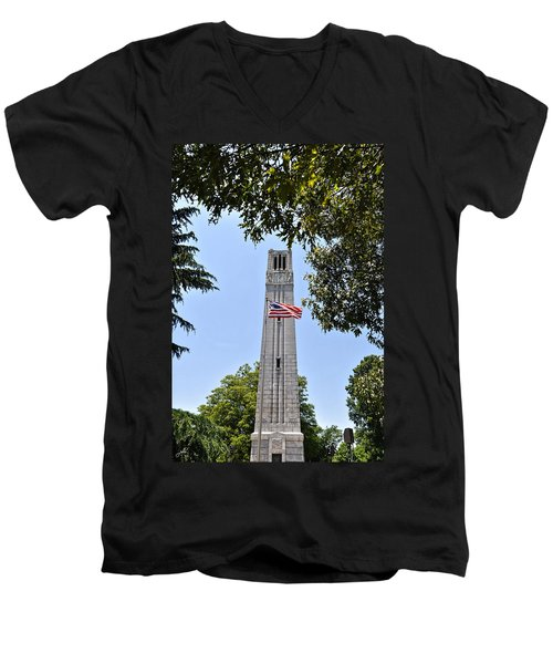 Nc State Memorial Bell Tower And Us Flag Men's V-Neck T-Shirt