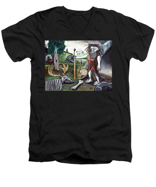 Men's V-Neck T-Shirt featuring the painting Neander Valley by Ryan Demaree