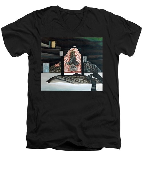 Men's V-Neck T-Shirt featuring the painting Negative Ion by Fei A