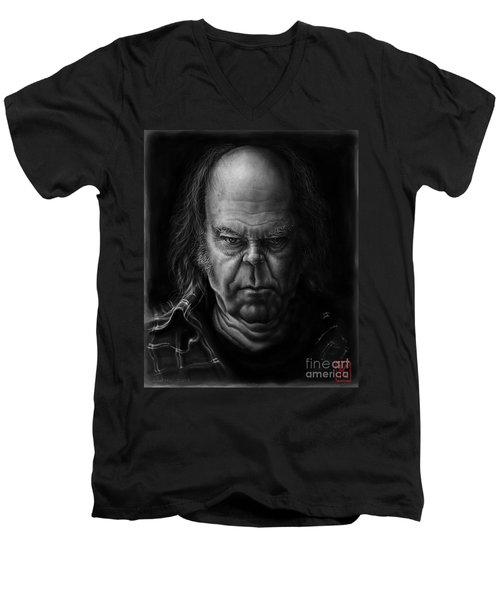 Neil Young Men's V-Neck T-Shirt by Andre Koekemoer