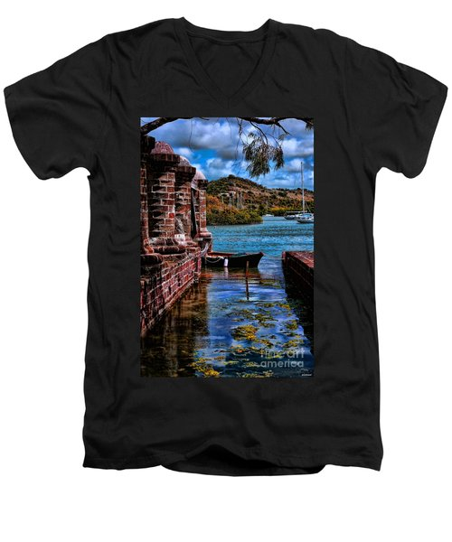 Nelson's Dockyard Antigua Men's V-Neck T-Shirt by Tom Prendergast
