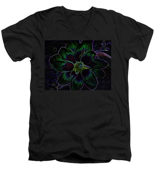 Men's V-Neck T-Shirt featuring the photograph Neon Glow by Aimee L Maher Photography and Art Visit ALMGallerydotcom