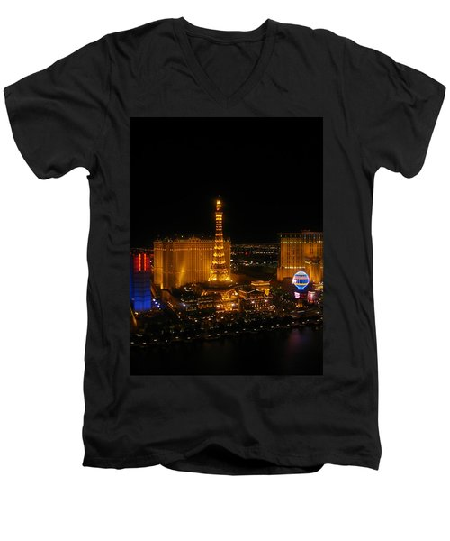 Men's V-Neck T-Shirt featuring the photograph Neon Illusion by Angela J Wright