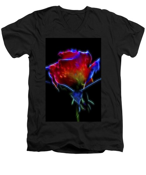 Neon Rose Men's V-Neck T-Shirt by William Horden