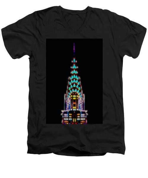 Neon Spires Men's V-Neck T-Shirt by Az Jackson