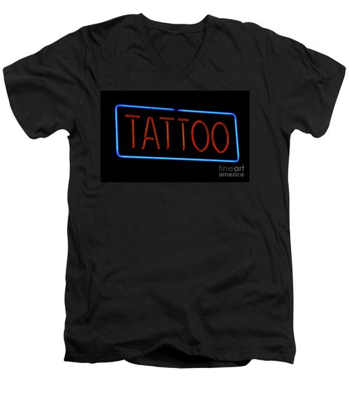 Neon Tattoo Sign Men's V-Neck T-Shirt by Phil Cardamone
