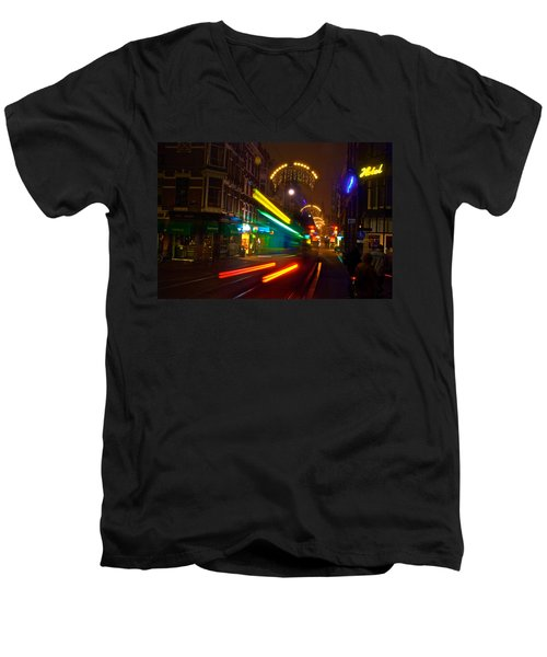 Men's V-Neck T-Shirt featuring the photograph Neon Tram Leidestraat by Jonah  Anderson