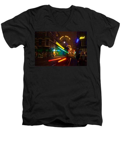Neon Tram Leidestraat Men's V-Neck T-Shirt by Jonah  Anderson
