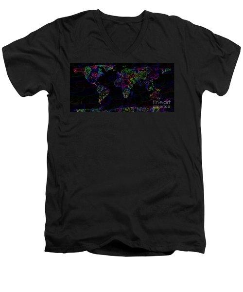 Neon World Map Men's V-Neck T-Shirt by Zaira Dzhaubaeva
