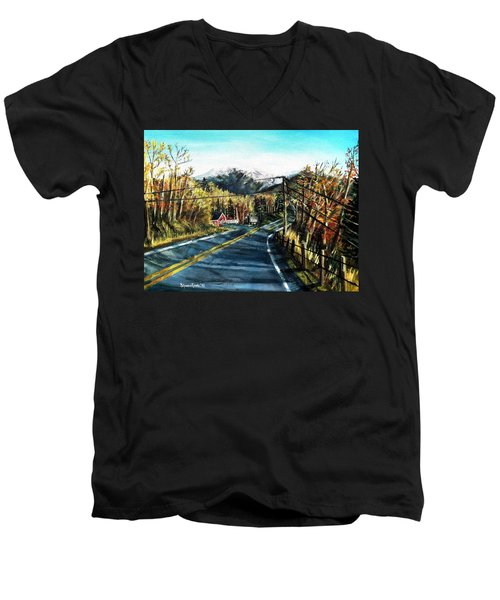 Men's V-Neck T-Shirt featuring the painting New England Drive by Shana Rowe Jackson