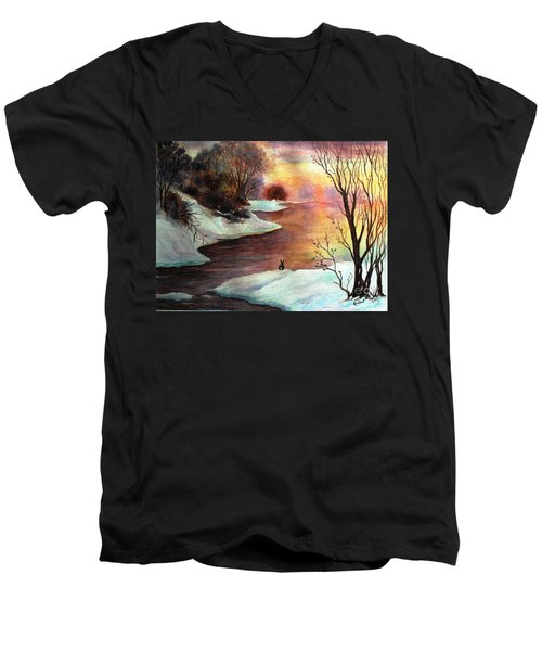 New Every Morning  Men's V-Neck T-Shirt by Hazel Holland