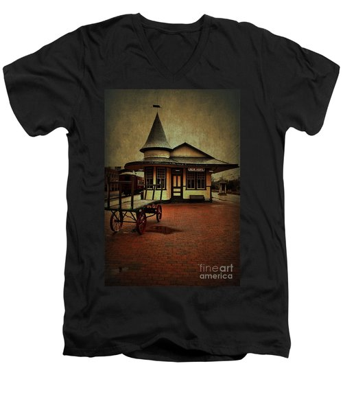 Men's V-Neck T-Shirt featuring the photograph New Hope Ivyland Train Station by Debra Fedchin