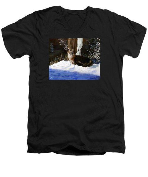 New Mexico Swift Fox Men's V-Neck T-Shirt by Sheri Keith
