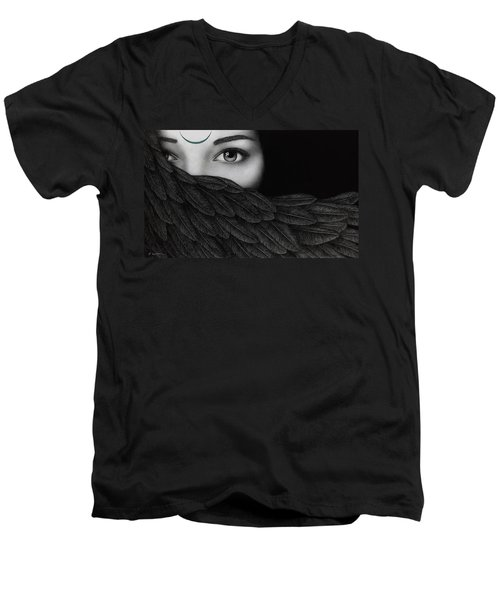 Men's V-Neck T-Shirt featuring the painting New Moon by Pat Erickson