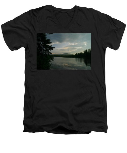 Men's V-Neck T-Shirt featuring the photograph New Morning On Lake Umbagog  by Neal Eslinger