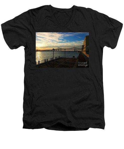 Men's V-Neck T-Shirt featuring the photograph New Orleans Bridge by Erika Weber