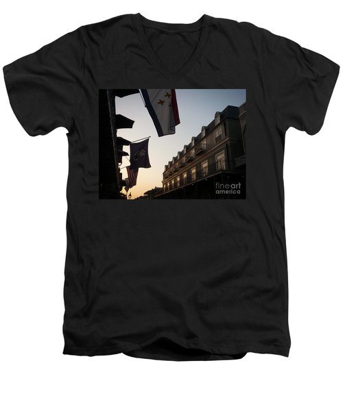 Evening In New Orleans Men's V-Neck T-Shirt by Valerie Reeves