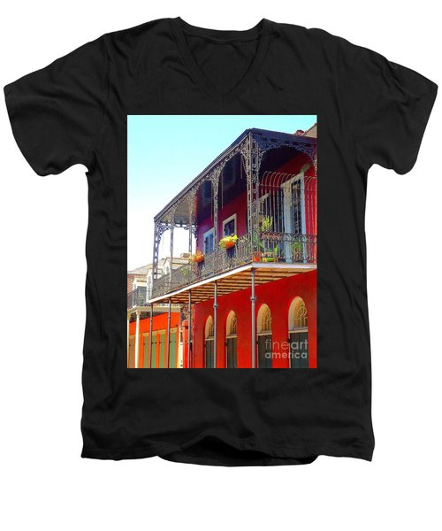 New Orleans French Quarter Architecture 2 Men's V-Neck T-Shirt by Saundra Myles