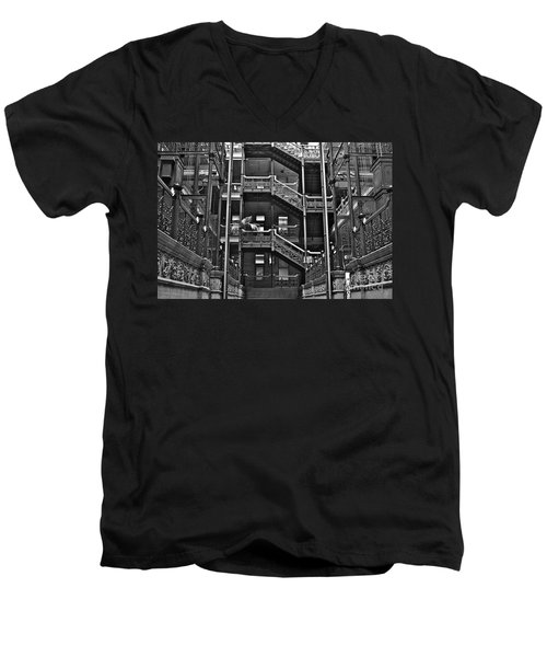 New Photographic Art Print For Sale Bradbury Building Downtown La Men's V-Neck T-Shirt