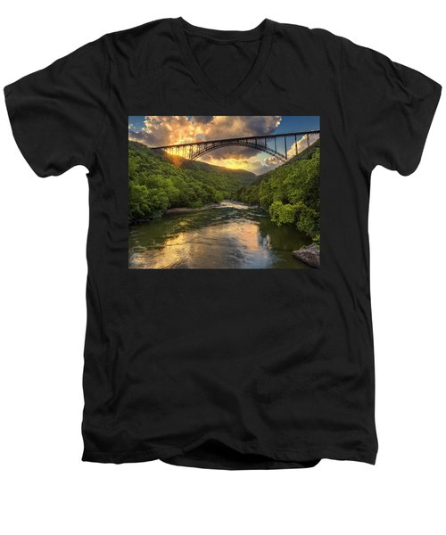 New River Evening Glow Men's V-Neck T-Shirt