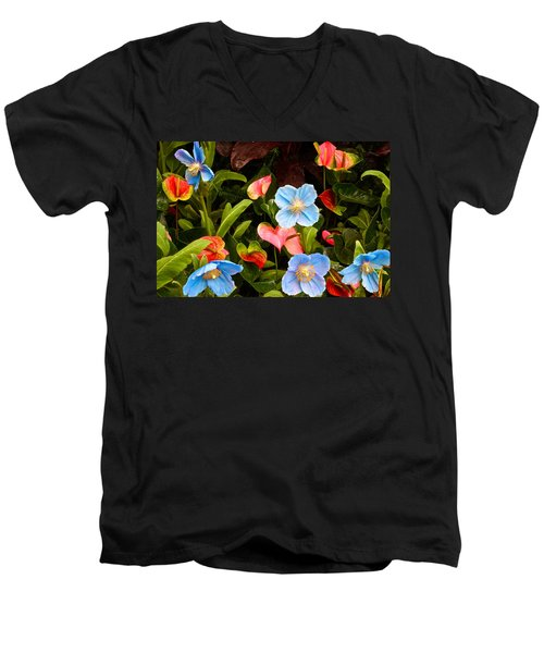 New World And Old World Exotic Flowers Men's V-Neck T-Shirt