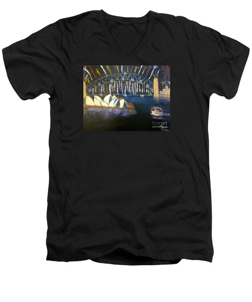 Men's V-Neck T-Shirt featuring the painting New Year Eve On Sydney Harbour by Pamela  Meredith