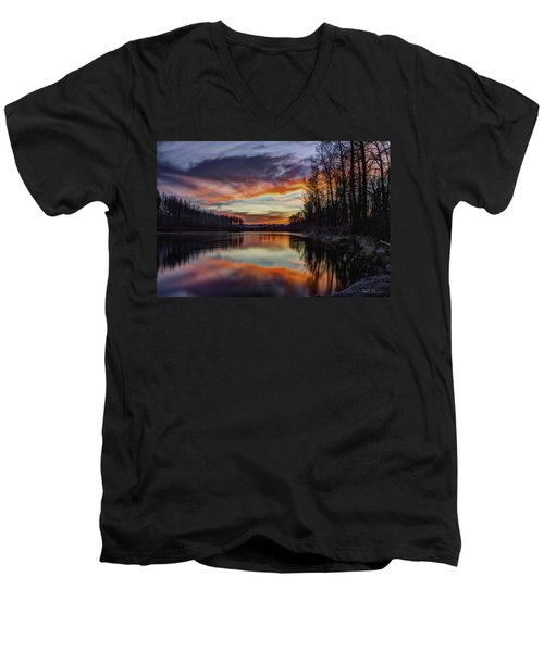 New Years Eve Sunset Men's V-Neck T-Shirt by Charlie Duncan