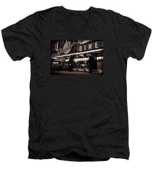 New York At Night - Brooklyn Diner - Sepia Men's V-Neck T-Shirt by Miriam Danar