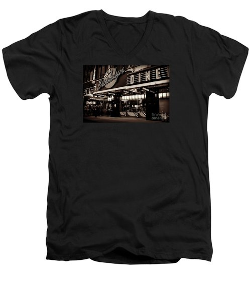 New York At Night - Brooklyn Diner - Sepia Men's V-Neck T-Shirt