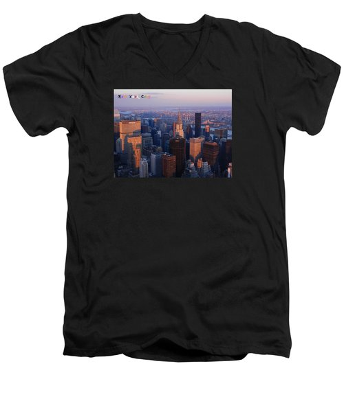 New York City At Dusk Men's V-Neck T-Shirt by Emmy Marie Vickers