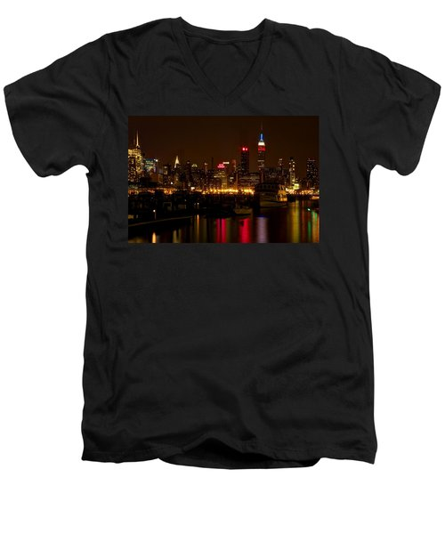 New York City Men's V-Neck T-Shirt by Dave Files