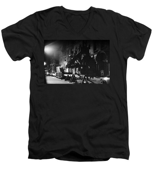 Men's V-Neck T-Shirt featuring the photograph New York City Street by Steven Macanka